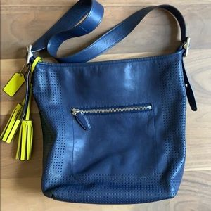 Coach Legacy Perforated Navy & Citrine duffle